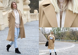Monika Stegienko - Misbhv Nude Coat, Shoes, Stradivarius Jacket, Only Sweater, Boyfriend Pants, Reserved Bag, Lilou Necklace - Nude autumn!