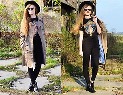 Karolina N. - Marks & Spencer Coat, Bershka Pants, Boots, Thrift Store T Shirt, Fedora Hat, Cat Sunglasse - TIGER