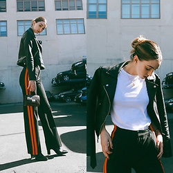 Ana Prodanovich - Express Leather Jacket, Zara Track Pang, Everlane White Tee - Track is Back