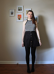 Sarah W. - Tunnel Vision Striped Top, Dolls Kill Faux Suede Skirt - VERTIGO