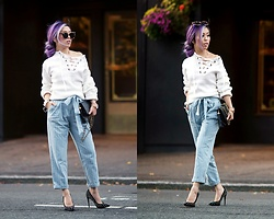 Aika Y - Zaful Lace Up Sweater, Zaful Striped Paperbag Trousers, Chanel Vintage Bag, Forever 21 Statement Hoop Bracelet, Aldo Studded Pumps, Urban Outfitters Cat Eye Sunglasses - Lace-up Sweater & Paperbag Trousers