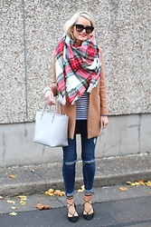 Martina Reynolds - Sheinside Camel Coat, Sheinside Plaid Scarf, Primark Skinny Jeans, Stradivarius Lace Up Flats - Mad for plaid