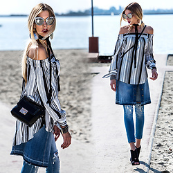 Dora D. - Oversized Marble Print Mirored Sunglasses, Striped Off The Shoulder Dress, Street One Button Front Denim Skirt, Sredded Knees Skinny Jeans - Autumn is so beautiful, yet everything is abandoned