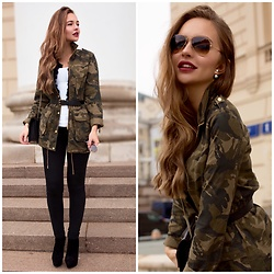 Alina Feminudity - Stradivarius Parka, Zara Jeans, H&M Tank, Pinko Fur Vest, Saint Laurent Chain Bag, Christian Dior Earrings, Ray Ban Shades - Military Chic