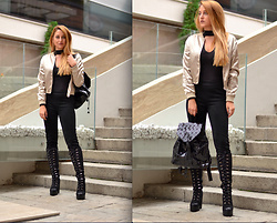 Martina Manolcheva - Stayingsummer Jacket, H&M Pants, H&M Top, Bag, Shoes - Black And Satin