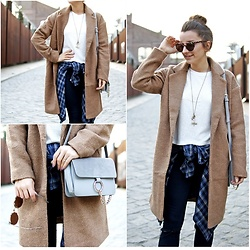 Asia M. - Bonprix Long Camel Coat, Blue Checkered Shirt - LONG COAT & HEAVY BOOTS