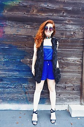 Erin Ashley Goldman - Target Faux Fur Vest, Bebop Clothing Strapless Romper, Forever 21 Cross Strap Wedges, Urban Outfitters Choker, Target Sunglasses - June Blues