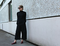 Angharad Jones - Asos Sunglasses, Cos Trousers, Zara Shoes - Burgundy Loafers