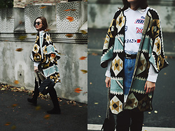 Andreea Birsan - Printed T Shirt, Printed Cape, Mini Denim Skirt, Quilted Leather Crossbody Bag, Black Suede Over The Knee Boots, Mirrored Sunglasses - The ultimate guide to wearing a printed cape II