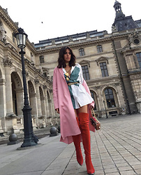 NILL N - Acne Studios Shirt, Zara Pink Coat, Christian Louboutin Bag - Paris Fashion Week