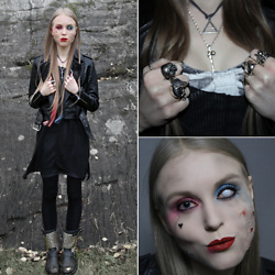 Mona&Linda Pedersen - Black Milk Clothing Dress, Asos T Shirt, Ash Footwear Boots, Allsaints Leather Jacket - Harley Quinn Zombified