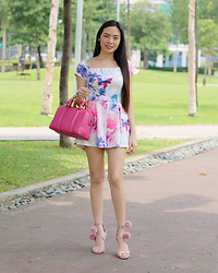 Czari Denise - Givenchy Pink Bag, White Floral Romper Onesie, Charles And Keith Pom Pom Pink Heels Lace - Pinky Bag Day 2
