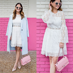 Jenn Lake - Chic Wish White Lace Bell Sleeve Dress, Chic Wish Long Blue Coat, Chanel Pink Quilted Flap Bag, Kate Spade Lydia Crystal Heels, Quay Pink Cateye Sunglasses, Kendra Scott Rogan Stud Earrings - White Lace Bell Sleeve Dress