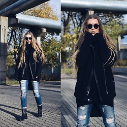 Triinu Ollema - Zara Vest, H&M Heavy Knit, Fb Sister Ripped Jeans, Zara Heavy Boots, Zerouv Sunglasses - Heavy knit