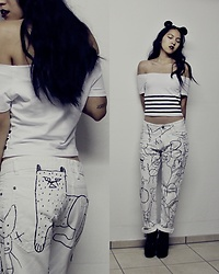 Tram Anh - Dezzal Off Shoulder Top, Customized Zef Pants, Jeffrey Campbell Shoes Suede Litas - #zef