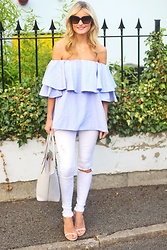 Martina Reynolds - Sheinside Blue Off The Shoulder Top, Riverisland White Jeans, Sheinside Barely There Heels - Cold shoulder