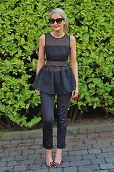 Martina Reynolds - Sheinside Black Peplum Top, Oasis Cropped Pants - Frill Seeker