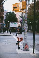 Rachel Lynch - Pretty Attitude Rock N Roll Jacket, Intermix Red Leather Pants - Baby's wearing denim