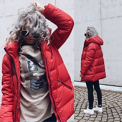 Eeva K. - Zara Red Padded Coat - Red and ready for the Winter