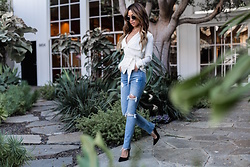 Jessi Malay - L'academie Trench Blouse, Grlfrnd Karolina High Rise Skinny Jean, Miu Black Suede Pumps, Sonix Holland Clear Sunglasses - White T | GRLFRND Denim