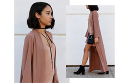 Esther L. - Sheinside Long Duster Coat, Zaful Necklace, Zaful Silver Ring Bag, Zara Lining Dress, Zara Boots - MINIMALISM