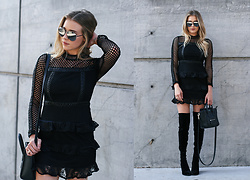Payton Sartain - Nasty Gal Dress, Quay Shades, Public Desire Boots, Celine Bag - Not Your Average LBD