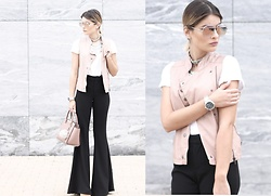 Cátia Sousa - Bershka Shirt And Vest, Zara Flare Pants, Happiness Boutique Necklace, Christian Dior Aviators - F L A R E P A N T S
