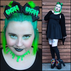 Ash Stash - H&M Little Black Dress, Gifted Fuzzy Cardigan, Moon & Sugar Ugh Bows, Nikki Lipstick Slime Choker, Sock Dreams Thigh High Socks, Unif Hellbound Platforms - Alien Slime Babe