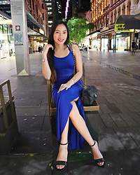 Czari Denise - Miss Selfridge Blue Maxi Dress, Chanel Black Vintage Bag, Charles And Keith Strap Flats Black - Night Blue