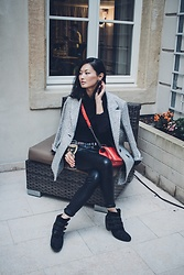 Sun Zibar - Maje Coat, Cos Top, The Kooples Belt, Chanel Boy Bag, Kennel & Schmenger Boots, Allsaints Leather Pants - Low Key