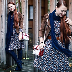 Jenny Danilkova - Miss Selfridge Suede Jacket, Modis Midi Dress, Eleganzza Cross Body Bag, Inario High Boots - Bye october!
