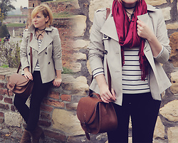 Anca Varsandan - Marks & Spencer Mac, H&M Stripe Top, Primark Jeans, H&M Satchel, Zaful Wrap Choker - The Short Trench