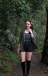 Sarah W. - Black Hope Curse Witch Singlet, Kmart Olive Oversized Shirt, Gypsy Warrior Denim Shorts - BLACK HOPE CURSE