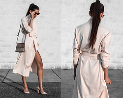 Kristina - Tijn Sunnies, Simple Retro Satin Wrap Dress, Hieleven Crossbody Bag, Simmi Pink Shoes - Slip into sweet serenity
