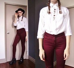 Raquel Teichroeb - Vintage Blouse, Pants, Platform Sandals, Wool Hat - Home to You