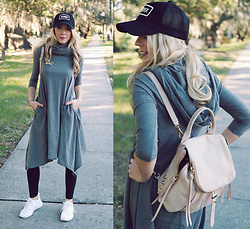 Zuzana - Eshakti Knit Cotton Sweater Dress, Zara Black Leggings, Nike Shoes, Botkier Blush Warren Backpack - Deceptively Elegant