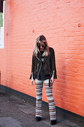 Daniella Robins - Topshop Flares, All Saints Suede Jacket - Metallica T-Shirt & Zig Zag Trousers