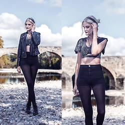 Faye S. - Black Milk Clothing Crop, Zara Leather Jacket, Dr. Martens Boots - I toss and I turn and I fall and I rise