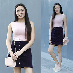 Czari Denise - Miss Selfridge Light Pink Shell Blouse With Jewel Neckline, H&M High Waist Buttoned Skirt Dark Purple Velvet, Stradivarius Flat Sneakers In Blush Peach, Forever 21 Chain Peach Bag - Back to Old Fashion Trends