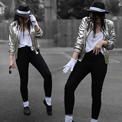 Sammi Jackson - Primark Bomber Jacket, H&M Basic Vest, Primark White Gloves, Primark Jeans, Primark White Socks, Primark Brogues, Primark Sunglasses - BEAT IT! - HALLOWEEN LOOK 3