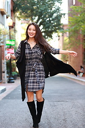 Kimberly Kong - Velvet Heart Plaid Shirtdress, Hushpuppy Tall Boots, Banana Republic Drape Vest - The Plaid Shirtdress aka Wearable PJs