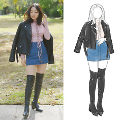 Yonish - Zaful Pink Knit Lace Up, Forever 21 Denim Buttoned Down Skirt, Zaful Thigh High Boots - Leather and Lace-up