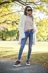 Lauren Recchia - J. Crew Cardigan, J. Crew Tee, Tory Burch Belt, Rag & Bone Jeans, Stella Mccartney Platforms - Loop Cardi