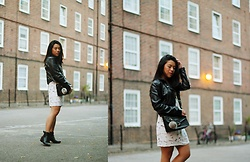 Thuy Pham - Lindex Jacket, Furla Cross Body Bag, Bershka Patterned Dress, F&F Ankle Knee Boots - Monochrome simplicity