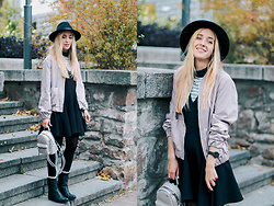 Anna Pogribnyak - Nobody's Child Dress, Nobody's Child Striped Top, Romwe Bomber, Romwe Hat, Stylewe Bag - Hello, November