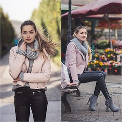 Juliette Jakubowska - Pink Biker Jacket - PASTEL OUTWEAR, GREY GOLF AND LEATHER PANTS