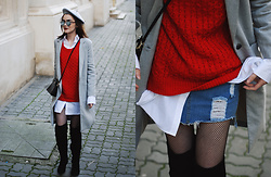 Andreea Birsan - Over The Knee Boots, Denim Mini Skirt, Grey Coat, Red Cable Knit Sweater, Grey Beret, Mini Leather Crossbody Bag, White Button Down Shirt, Mirrored Sunglasses - How to master the Parisian chic look
