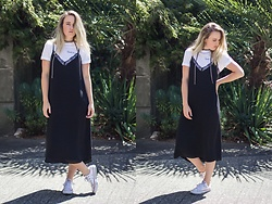 Jenaly Enns - Future State Logo Tee, Aritzia Lace Trim Dress, Converse All Star Chuck Taylors - T-shirt // Cami dress