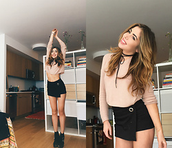 Emmy Corinne - Brandy Melville Nude/Pink Sweater, Zara Black Skort, Jeffrey Campbell Booties, Necessary Clothing Tie Choker - Mini Skirt and Nude Sweater!