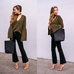 Sasa Zoe - Sweater, Jeans, On Sale Bag, Choker, Sunglasses, Heels - BELL AND FLARE